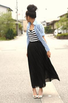 Striped top, denim chambray shirt, maxi skirt, cute peep toe heels, high bun hair style, wayfarer glasses