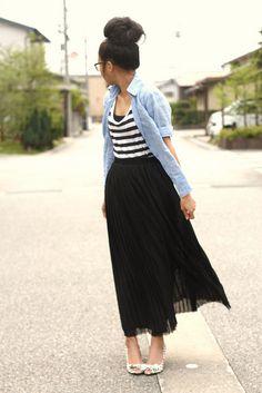 Striped top, denim chambray shirt, maxi skirt, cute peep toe heels, high bun hair style, wayfarer glasses