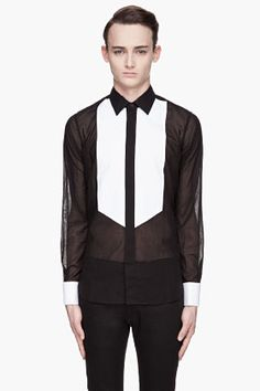 SAINT LAURENT Black White bib-front Oxford shirt-don't care that it's for dudes, I would wear the ish out of this!