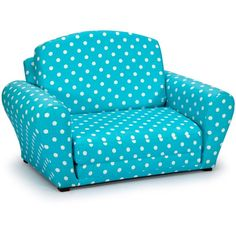 Polka Dots Girly Blue Sleepover Sofa ($80) ❤ liked on Polyvore featuring home, furniture, sofas, blue couch, blue sofa and polka dot furniture