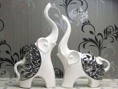 Delicate Silver Process Ceramic Elephant Figurine Makes The Most Attractive And Unique Home Decor Accessories