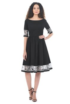 159866f329a50 Floral embellished tulle trim cotton poplin dress