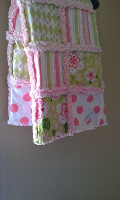 Baby Girl Rag Quilt Minky Blanket Riley Blake Pink Sage Sugar And Spice. $52.00, via Etsy.