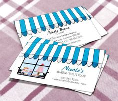 Whimsical Bakery Boutique / Shop Business Cards This great business card design is available for customization. All text style, colors, sizes can be modified to fit your needs. Just click the image to learn more! | bizcardstudio.co.uk