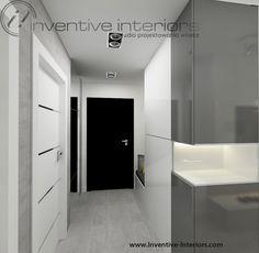 Projekt przedpokoju Inventive Interiors - Biało szary minimalistyczny przedpokój