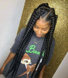 Jumbo box braids with triangle parts. Edge control - Certified Bella pomade Jumbo Braids 🔥Nadine Eder nadine_eder So pretty . Jumbo box braids with triangle parts. Jumbo Box Braids Styles, Short Box Braids, Blonde Box Braids, Black Girl Braids, Braids For Black Hair, Girls Braids, Jumbo Braids, Long Braids, Big Braid Styles
