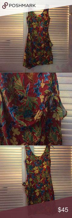 Hawaiian Summer Dress Bright Hawaiian patter on a tank summer dress with wrap waist and zipper back. Hawaiian Summer Dresses, Lady In Red, Two Piece Skirt Set, Buy And Sell, Bright, Zipper, Yellow, Best Deals, Mini
