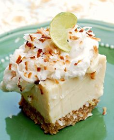 Lime Coconut Bars Key Lime Coconut Bars- I can't wait to make these for my husband, he loves key lime pie & coconut cake.Key Lime Coconut Bars- I can't wait to make these for my husband, he loves key lime pie & coconut cake. Yummy Treats, Sweet Treats, Yummy Food, Köstliche Desserts, Dessert Recipes, Healthy Desserts, Fruit Recipes, Dinner Recipes, Vegetarian Recipes