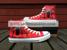 Spiderman High Top Red Hand Painted Converse Canvas Women/Men Shoes