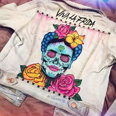 Custom Painted Frida Kahlo Sugar Skull Denim by CloeHakakian
