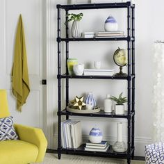 Ebo Modern Coastal 4 Tier Etagere in Navy - Safavieh and refreshing, this modern coastal étagère is a contemporary classic. Its navy lacquered bamboo adds relaxed sophistication to any living room or office. Its ample s Etagere Bookcase, Ladder Bookcase, Bookcases, Wood Shelves, Glass Shelves, Clothes Drying Racks, Contemporary Classic, Modern Classic, Modern Coastal