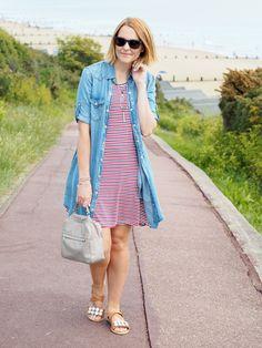 mango denim dress and striped dress casual