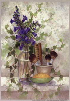 Brushes by Annie Lapoint Dorm Closet, Bathroom Art, Bathroom Colors, Bathrooms, Country Paintings, Vintage Prints, Vintage Posters, Vintage Images, Decoupage Vintage