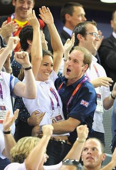 Kate and Will cheering at the Olympics.