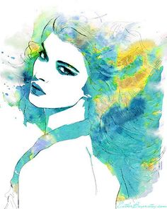 Tropical waters- Watercolor Fashion Illustration Sketch Drawing Abstract Print by Esther Bayer. Art And Illustration, Fashion Illustration Sketches, Portrait Illustration, Drawing Sketches, Art Drawings, People Drawings, Illustrations Posters, Watercolor Portraits, Watercolor Paintings