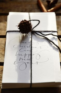 Beautiful and simple gift wrap, christmas present presented