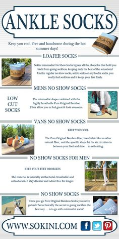 Click this site http://sokini.com/minimalist-no-show-socks-bamboo/ for more information on No Show Socks For Men. But be careful when buying the invisible socks. The problem with some of these socks is that they look like ballerina shoes. These kinds of socks are truly invisible on shoes but easy slip due to too low cutting of the sock heel. Sock slippage can be very annoying. And some of them claim they are No Show Socks For Men but still show due to their ankle height cutting design.