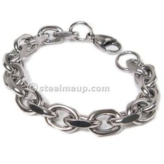 "Stainless Steel 9.5mm Wide 9"" Faceted Cable Chain Mens Bracelet"