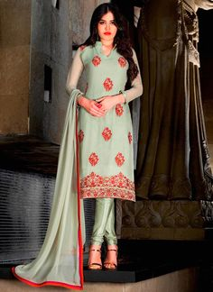 Gorgonize Embroidered Work Sea Green Faux Georgette Trendy Churidar Suit