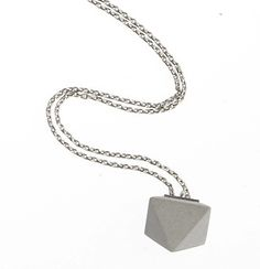 $189 Concrete Collier Betton Pendant: Concrete Pendant on Sterling Silver necklace from Waiting for the Sun. Made in France. #necklace #pendant #concrete #silver #sterlingsilver
