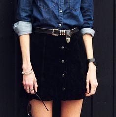 Women's Fashion: Fall Style (Denim Button Down Shirt, Black Corduroy Skirt, Black Belt, Black Watch, Black Sunglasses) | #womensfashion
