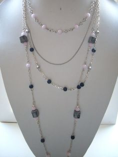 Pink and Black Jade 4 Strand Necklace with by DesignsbyPattiLynn