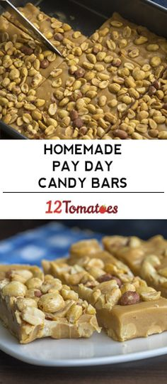 Homemade Pay Day Candy Bars (Sounds like peanut butter fudge? Candy Recipes, Sweet Recipes, Cookie Recipes, Dessert Recipes, Nut Recipes, Brownie Recipes, Quick Recipes, Baking Recipes, Recipies