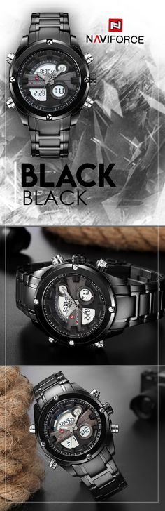 Men's black full steel military watches - Naviforce LED sport watch - Men's brand style fashion affordable accessories #menswatch #watch #menstyle #mensfashion