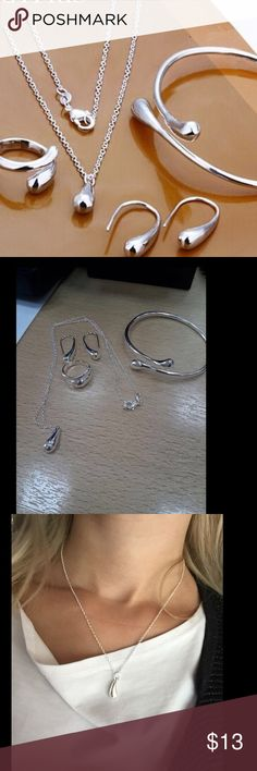 S222 Silver Water drop drip Jewelry sets S222 Silver Water drop drip Jewelry sets  Ring Necklace bangle earring 18inch solid women indian african Fine jewelry Jewelry