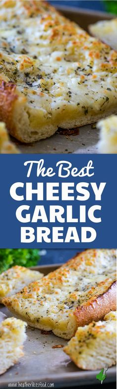 The Best Cheesy Garlic Bread! You might shirk at one of the ingredients, but believe me, you're going to want to try this one! Buttery, tangy, garlicky, and so, so cheesy. THE BEST! Pin today!