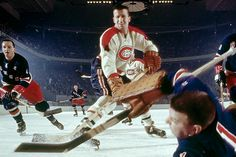 Action shot of Habs CLaude Provost being stopped by Rangers' Gump Worsley. Montreal Canadiens, Hockey Games, Ice Hockey, Team Player, Hockey Players, Claude, Nhl, Baseball, Rugby