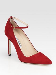 Manolo Blahnik * BB Suede Pumps Wish I was able to wear this ! Wow, love those red shoes ; )