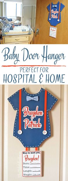 This is SO CUTE! I love how it includes all the birth stats! Personalized Newborn Baby Door Hanger for Hospital & Home | Where The Smiles Have Been