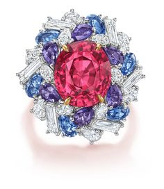 Harry Winston: Red Spinel Ring with multi-colored Sapphires and Diamonds Gems Jewelry, High Jewelry, Bridal Jewelry, Diamond Jewelry, Bullet Jewelry, Jewellery, Gothic Jewelry, Jewelry Necklaces, Harry Winston