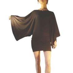 Kimono sleeve dress -- love the loose fabric plus tight mini skirt!
