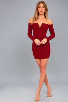 Over the Swoon Wine Red Off-the-Shoulder Bodycon Dress 1