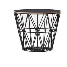 Wire Basket Side Table (Large) (1,780 CNY) found on Polyvore featuring home, furniture, tables, accent tables, modern side table, modern end table, modern home furniture, wire side table and modern accent table