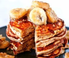 Peanut Butter And Banana Pancakes Recipe Breakfast and Brunch, Desserts with creamy peanut butter, bananas, cream, granulated sugar, light brown sugar, cinnamon, vanilla extract, all-purpose flour, baking powder, baking soda, salt, light brown sugar, butter, cinnamon, cream, vanilla extract, creamy peanut butter, vanilla extract, cinnamon, large eggs, bananas, maple syrup