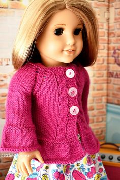 Hand Knitted 18 Inch American Girl Doll Clothing: Cable Accent Cardigan