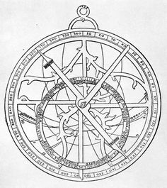 Line drawing of an astrolabe