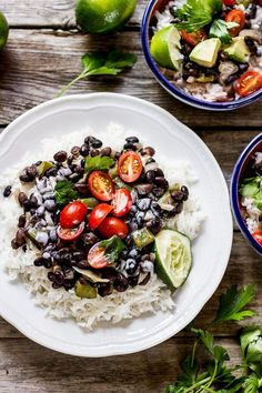 cuban-style black beans + rice with coconut cream