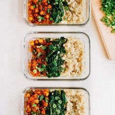 These vegan curried chickpea bowls make meal prepping for the week a breeze. The chickpeas are paired with spinach and brown rice for a delicious meal!