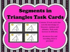 Contains 20 task cards that tests the knowledge of angle bisectors, perpendicular bisectors, medians and altitudes. Median cards also test knowledge of midpoints of coordinates. Task cards increase in difficulty.An answer key and recording sheet is provided!