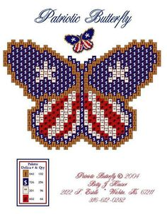 """""""Patriotic Butterfly One of my favorite free patterns!"""", """"free bead patterns by Betty by Lillian Potter"""", Beading Patterns Free, Seed Bead Patterns, Peyote Patterns, Cross Stitch Patterns, Free Pattern, Stitch Crochet, Peyote Stitch, Beaded Banners, Butterfly Cross Stitch"""