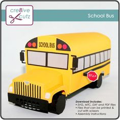 New in the Store! Send them back to school with this realistic School Bus that doubles as a clever gift box! Perfect for students, teachers and bus drivers! Downloadable pattern includes SVG, MTC, PDF and DXF files for use in multiple cutting machines. #3D SVG, #papercrafting, #schoolbus, #backtoschool