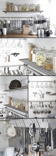 "KITCHEN :: Beach Cottage Kitchen Organization Part I :: Grundtal stainless steel wall shelf ($14.99 ea., 31.5"") & Grundtal stainless steel rail ($9.99 ea., 31.5"") I #grundtal #ikea #organization"