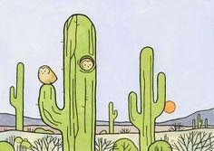 Owls and Saguaro Cactus Print, whimsical desert illustration wall art - Modern Desert Colors, Desert Art, Cactus Drawing, Cactus Art, Cactus Illustration, Graphic Illustration, Elf Owl, Eclectic Artwork, Owl Print