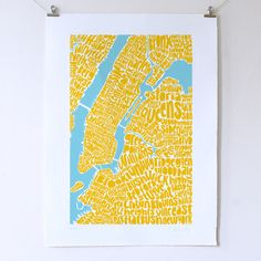 New York Typographic Map Print by Seagull Hut Ltd made by Ursula Hitz. at BOUF History Of Dance, Different Kinds Of Art, Map Of New York, Affordable Wall Art, City Maps, Map Art, Screen Printing, Art Prints, Ursula