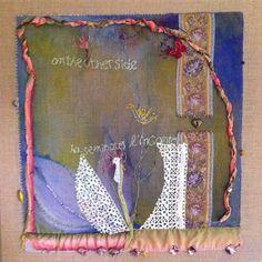 LinenLEMON 60cm x 60cm original textile art by Cassandra Wainhouse for sale $1,000