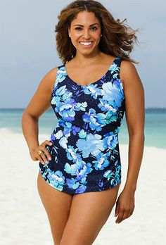 02fd9397cd1194 Beach Belle Pacifica Plus Size Sarong Front Plus Size Swimwear, One Piece  Swimwear, One